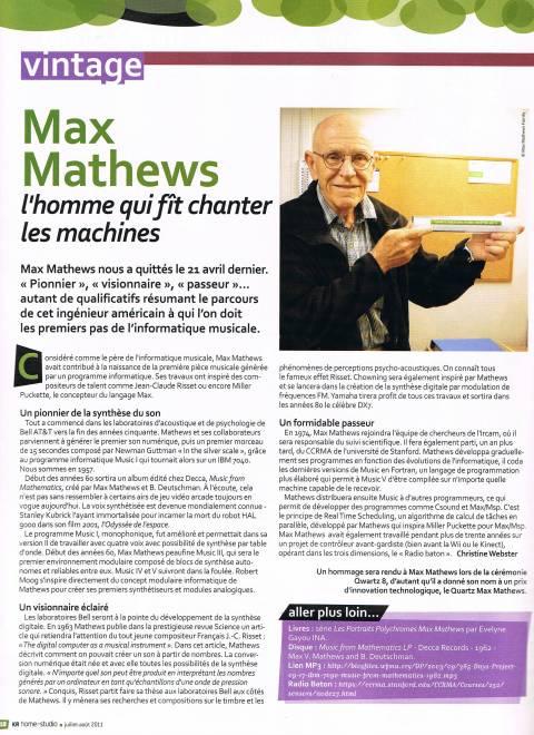 Hommage à Max Mathews dans KR Home-Studio